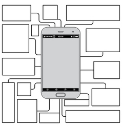Touchscreen Phone Features Blank Template vector image