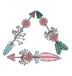 triangular bohemian frame with arrow feathers and vector image