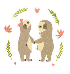 two cute dancing sloth in love vector image