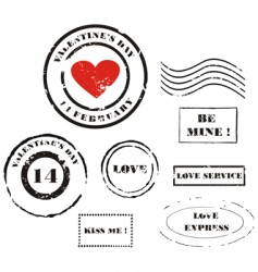 Valentine's Day post stamps vector image