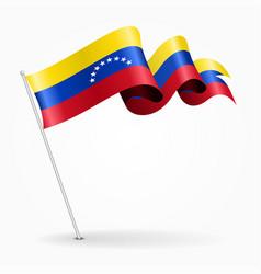venezuelan pin wavy flag vector image