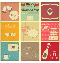Wedding Set of Retro Cards vector image