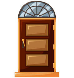 Wooden door with glass on top vector
