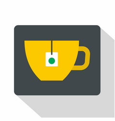 Yellow tea cup with teabag icon flat style vector