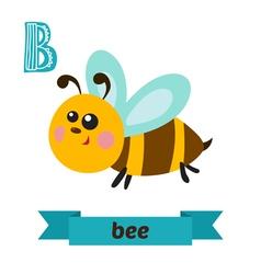 Bee B letter Cute children animal alphabet in vector image