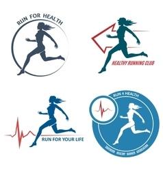 Healthy Run Emblem and Logo Set vector image