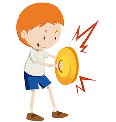 Little boy playing cymbals vector image