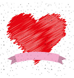 Red painting heart in love ribbon vector