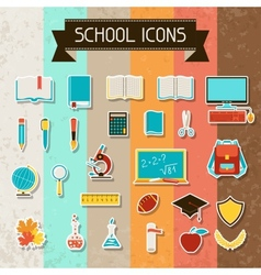 School and education sticker icons set vector image