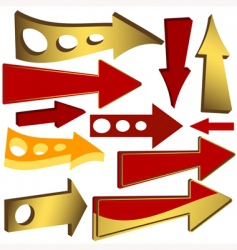 set of gold and red arrow icons vector image vector image