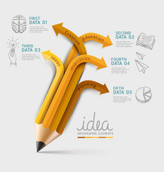 Education pencil Infographics template vector image vector image
