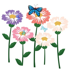 Fresh flowers with butterflies vector image