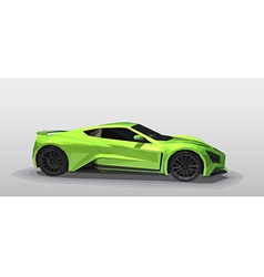 Green sport car - polygonal style vector image