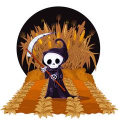 grim reaper on corn maze vector image vector image