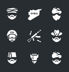 Set of war syria icons vector