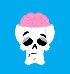 Skull and brain surprised emoji skeleton head vector