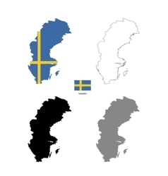Sweden country black silhouette and with flag on vector image