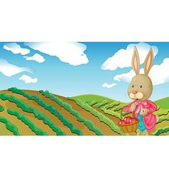A rabbit and a farm vector image vector image