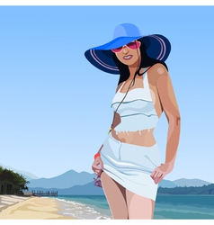 beautiful glamorous girl in broad brimmed hat vector image vector image