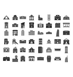 building icon set simple style vector image