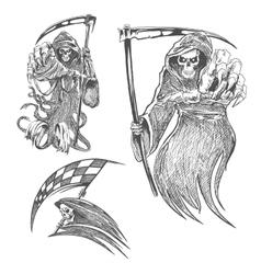 Death with scythe pencil sketch vector image vector image
