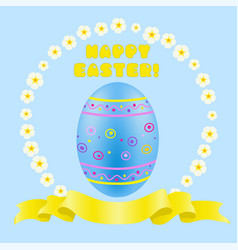 easter blue painted egg and golden ribbon vector image vector image