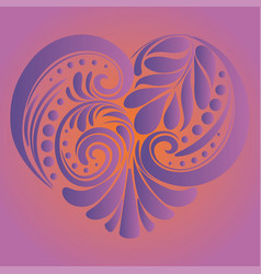 Folk floral heart vector