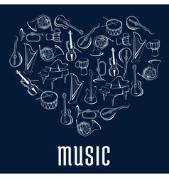 Heart icon with musical instruments vector image