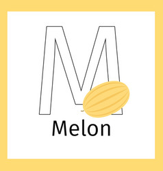 melon and letter m coloring page vector image