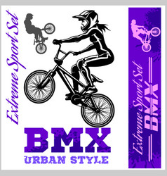 bmx t-shirt graphics extreme bike street style - vector image vector image