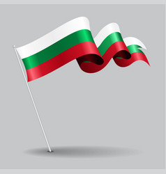 bulgarian pin wavy flag vector image vector image