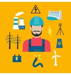 Electricity industry concept with power icons vector image
