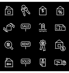 line real estate icon set vector image