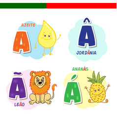 portuguese alphabet olive oil lion pineapple vector image