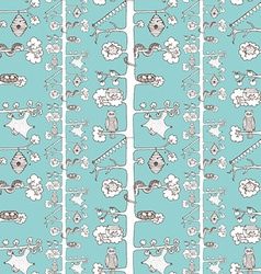 Sketch trees pattern with inhabitants vector image