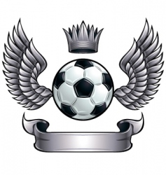 winged soccer ball emblem vector image
