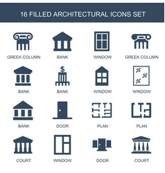 16 architectural icons vector