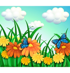 A hill with a garden with fresh flowers vector