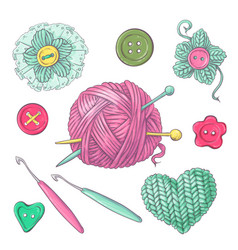 a set knitted clothes clew knitting needles vector image