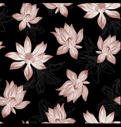 Abstract lotus seamless black background vector