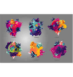 abstract spot collection with liquid shapes and vector image