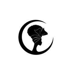 African american woman face profilep beauty logo vector