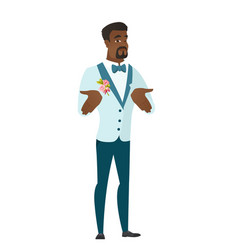 african confused groom shrugging shoulders vector image