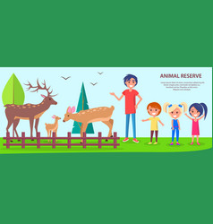 Animal reserve template poster with people in zoo vector