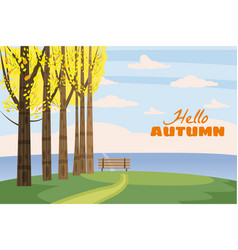 autumn landscape trees with yellow leaves lonely vector image