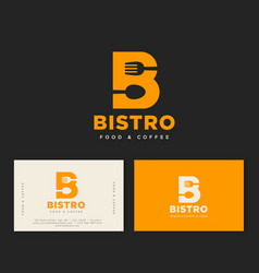 b letter bistro cafe logo yellow identity vector image