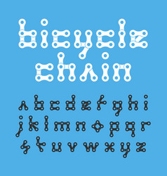 Bicycle chain flat style lowercase font vector
