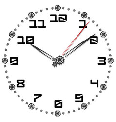 black and white clock simple fifty-four edition vector image