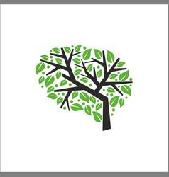 Brain tree logo design vector