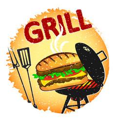 Burger grilled banner vector